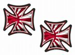 2 Pcs IRON CROSS With JDM Style Rising Sun Flag Motif External Vinyl Car Biker Helmet Sticker Each 60x60mm